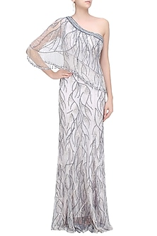 Lavenge Glitter Embellished One Shoulder Fringes Gown by RS by Rippii Sethi