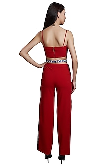 Red Printed Crop Top With Pants by RS by Rippii Sethi