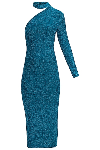 Blue Metallic One Shoulder Choker Dress by Rs By Rippii Sethi