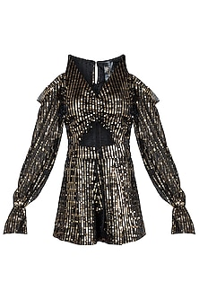 Black Metallic Cutout Playsuit by Rs By Rippii Sethi