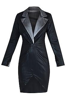 Black Metallic Collared Dress by Rs By Rippii Sethi