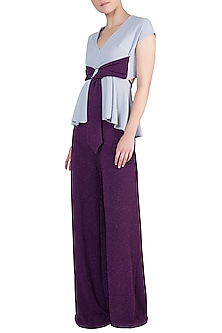 Grey And Purple Peplum Top With Palazzo Pants by Rs By Rippii Sethi