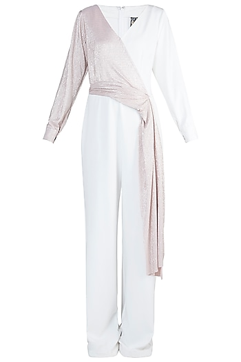White And Light Pink Metallic Jumpsuit by Rs By Rippii Sethi