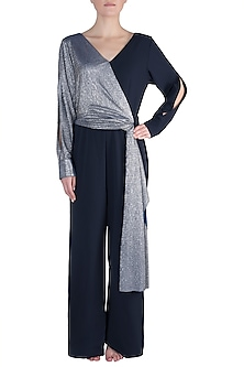 Navy Blue And Silver Metallic Jumpsuit by Rs By Rippii Sethi