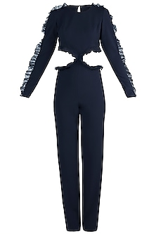 Navy Blue Frills Cutout Jumpsuit by Rs By Rippii Sethi