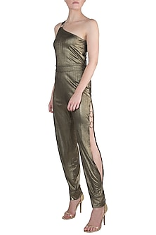 Gold Metallic One Shoulder Jumpsuit by Rs By Rippii Sethi