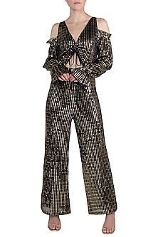 Black Metallic Jumpsuit by Rs By Rippii Sethi