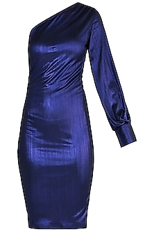 Purple Metallic Off Shoulder Dress by Rs By Rippii Sethi