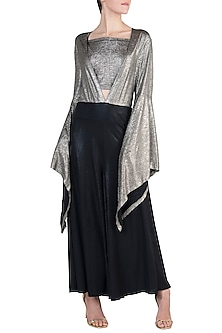 Black and Gold Metallic Jumpsuit by Rs By Rippii Sethi