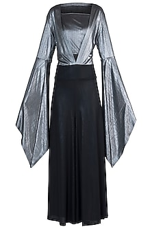 Black and Silver Metallic Jumpsuit by Rs By Rippii Sethi