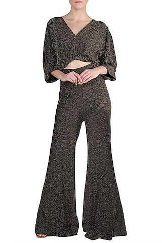 Black And Gold Metallic Crop Top With Matching Palazzo Pants by Rs By Rippii Sethi
