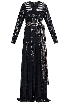 Black and Rose Gold Metallic Jumpsuit by Rs By Rippii Sethi