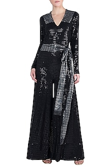 Black and Silver Polyester Metallic Jumpsuit by Rs By Rippii Sethi