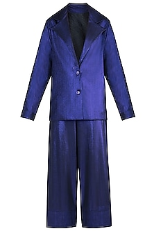 Purple Metallic Coat Suit by Rs By Rippii Sethi