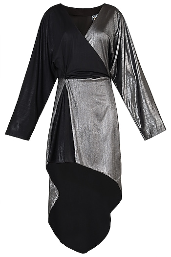 Black and Silver High Low Dress by Rs By Rippii Sethi