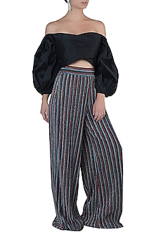 Multi Colored Palazzo Pants With Crop Top by Rs By Rippii Sethi