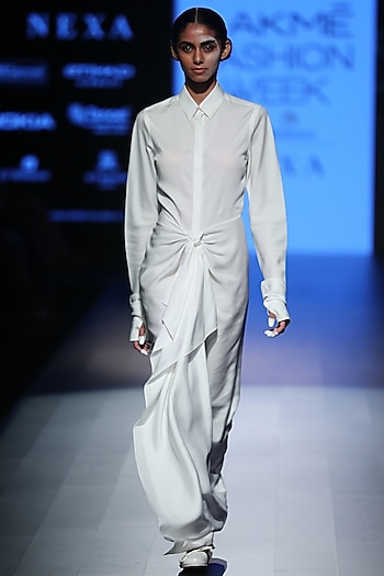 White Knotted Dress by Rajesh Pratap Singh