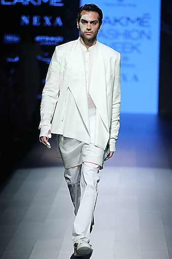 White Block Printed Kurta by Rajesh Pratap Singh Men