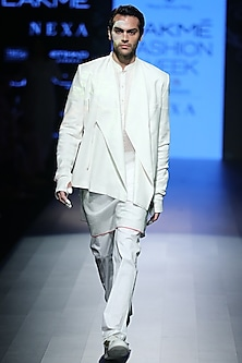 White Front Seam Trousers by Rajesh Pratap Singh Men