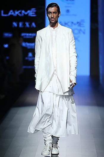 White Skirt Churidaar Pants by Rajesh Pratap Singh Men