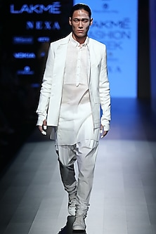 White Tencel Moss Jacket by Rajesh Pratap Singh Men