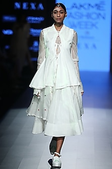 White Drawstring Waistcoat by Rajesh Pratap Singh