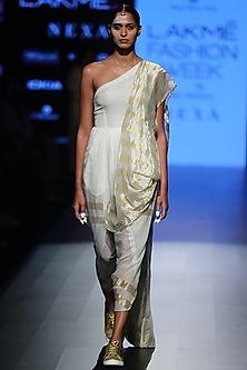 White Striped One Shoulder Saree Dress by Rajesh Pratap Singh
