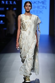 White Stitched Saree Dress by Rajesh Pratap Singh