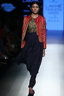 Navy Printed Top by Rajesh Pratap Singh