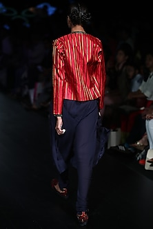 Navy Pleated Skirt Churidaar Pants by Rajesh Pratap Singh