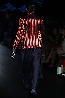Multi Striped Jacket by Rajesh Pratap Singh Men