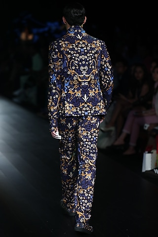 Navy Tiger Printed Suit by Rajesh Pratap Singh Men