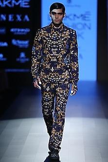 Navy Tiger Printed Waistcoat by Rajesh Pratap Singh Men