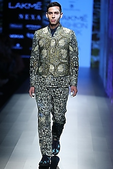 Green Tiger Printed Suit by Rajesh Pratap Singh Men