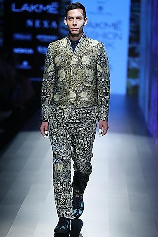 Green Tiger Printed Suit by Rajesh Pratap Singh Men