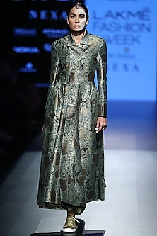 Green Asymmetrical Jacket by Rajesh Pratap Singh