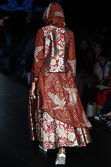 Red Snake Print Skirt by Rajesh Pratap Singh