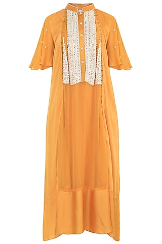 Orange Embroidered Dress by Rriso