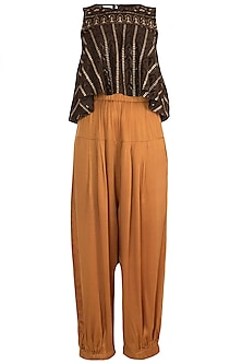 Brown Embroidered Crop Top With Rust Pants by Rriso