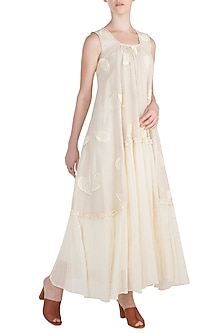 Ivory Embroidered Ruffled Dress by Rriso