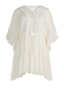 Ivory Embroidered Mini Dress by Rriso