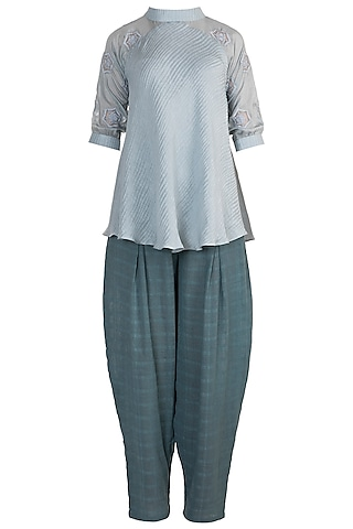Powder Blue Embroidered Tunic With Blue Pants by Rriso
