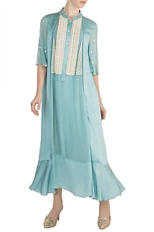 Aqua Blue Embroidered Dress by Rriso