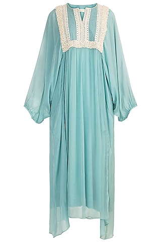 Aqua Blue Pearl Embroidered Dress by Rriso