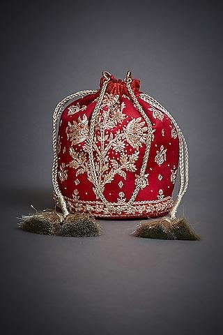 Red Embroidered Potli Bag With Tassels by Ri Ritu Kumar