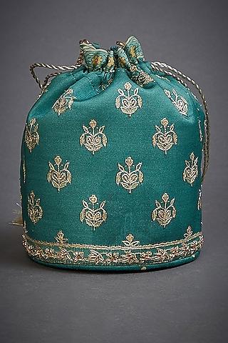 Emerald Green Embroidered Potli Bag by Ri Ritu Kumar