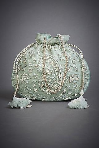 Pastel Blue Embroidered Potli Bag by Ri Ritu Kumar