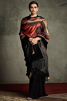 Black & Burgundy Embroidered Shawl by Ri Ritu Kumar