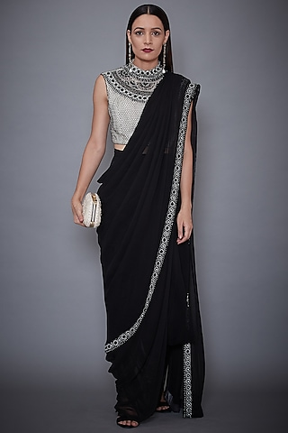 Black & White Embroidered Saree Set by Ri Ritu Kumar