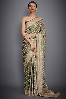 Khaki Green Embroidered Saree Set by Ri Ritu Kumar